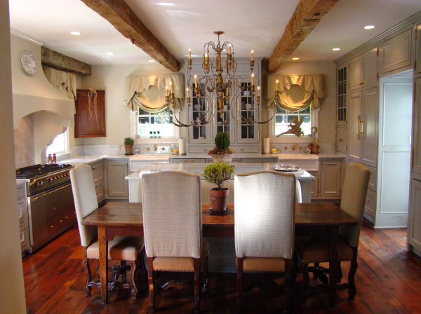 Statement lighting in a French country kitchen
