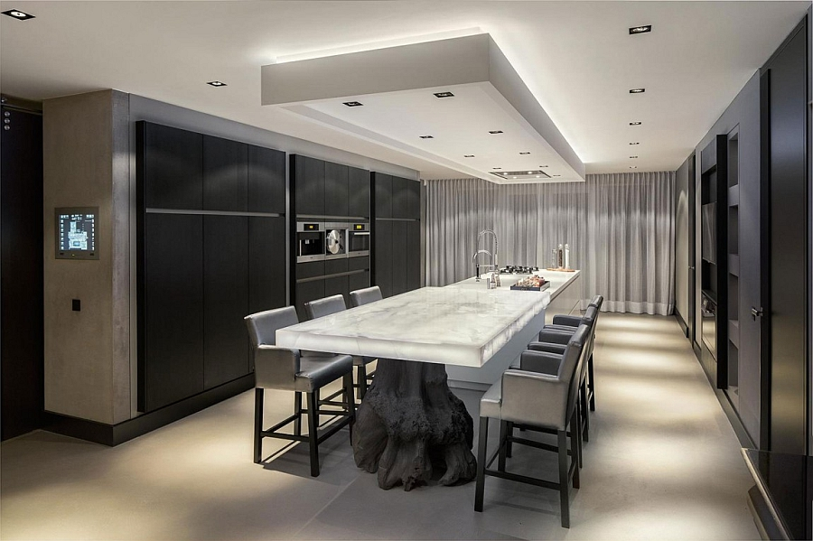 Stunning dining room and kitchen with white Onyx top