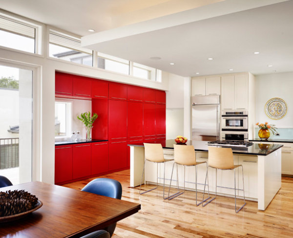 Tomato red cabinets