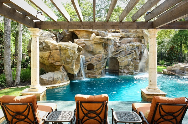 View of the Arched grotto under the waterfalls from the poolside pergola