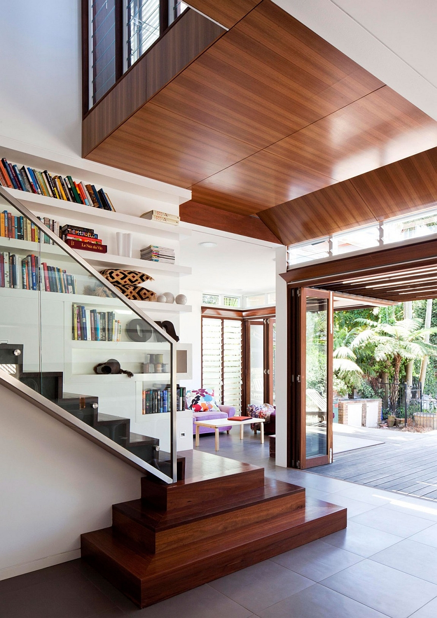 Wooden ceiling creates a sustainable setting