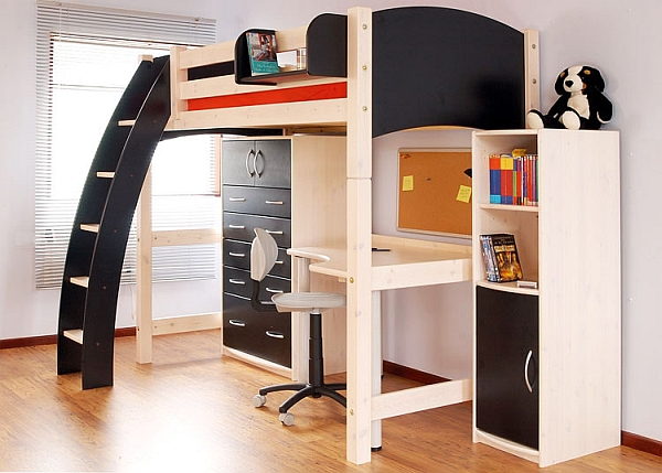 Black and white loft bed has an undeniable charm!