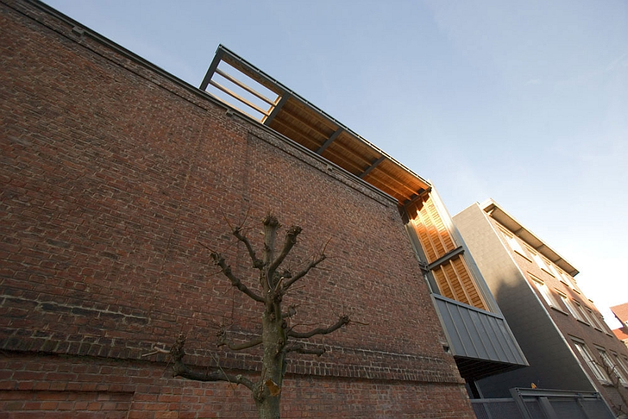 Brick facade of the industrial house
