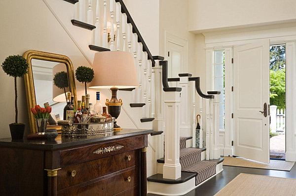 Elegant entryway chest and bar cart
