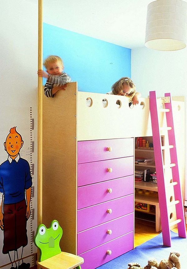 Hide away all the mess in the bedroom using a loft bed with storage cabinets