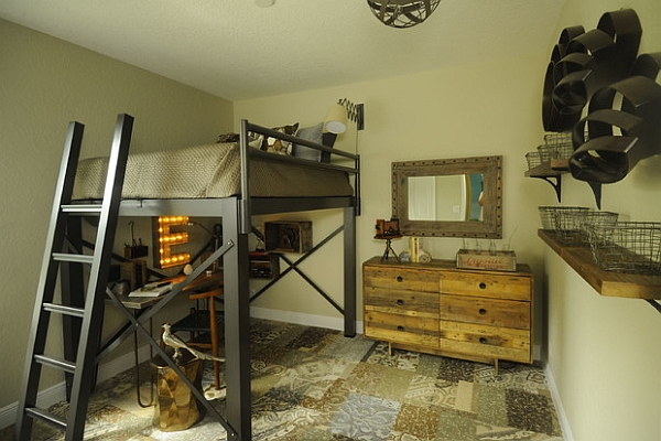 Industrial style bedroom with an ingenious loft bed
