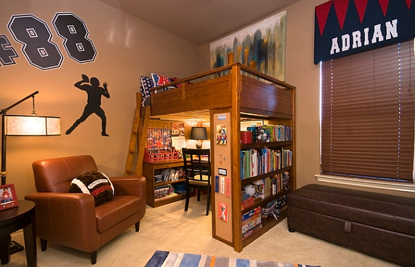 Loft bed that features an entire study room underneath!
