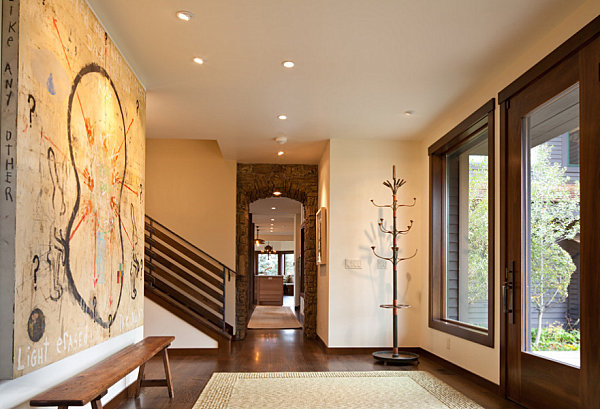 Modern art in a large entryway