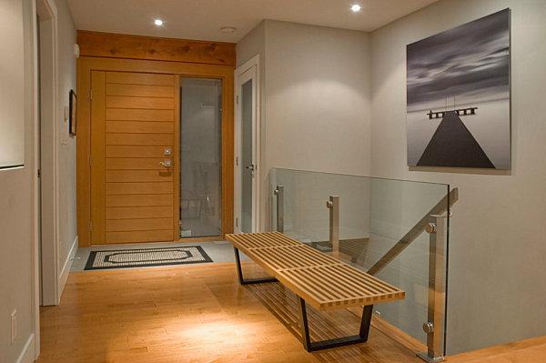 Modern entryway slatted bench
