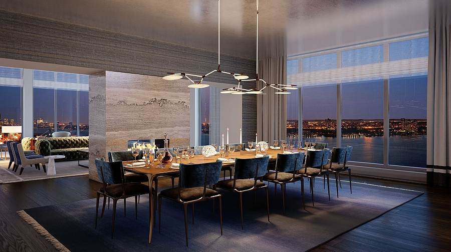 New York City Residence Dining Room with Hudson River as the backdrop