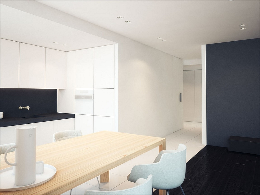 Sleek wooden dining table in a minimalist home