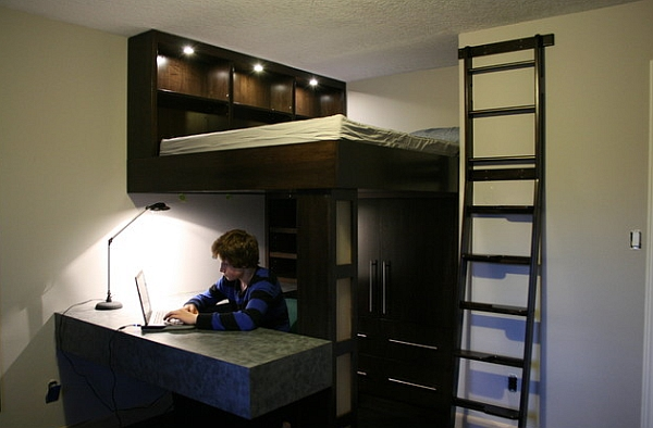Small bedroom design idea with a loft bed and work space below