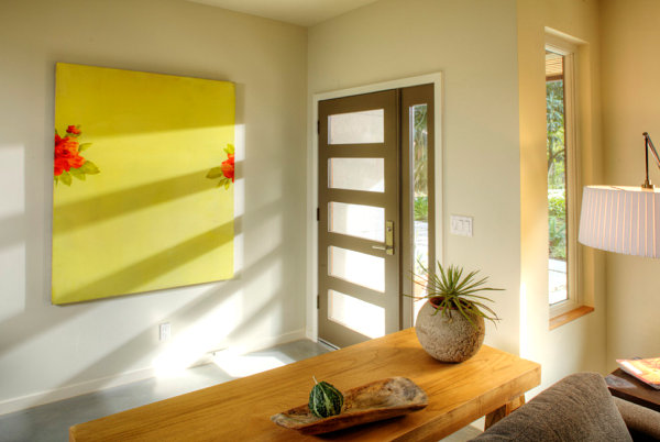 Statement art in a narrow entryway