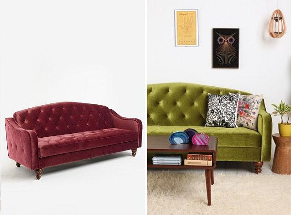 Tufted sleeper sofa