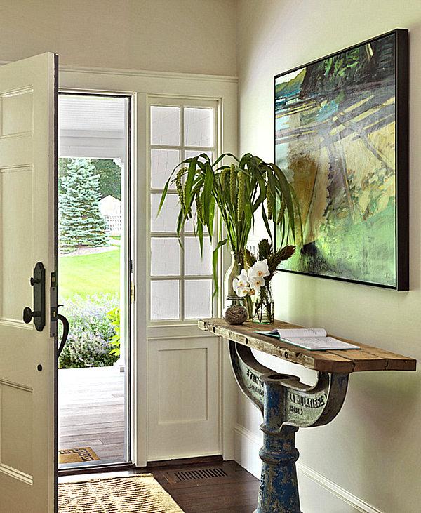 Unique narrow entryway table
