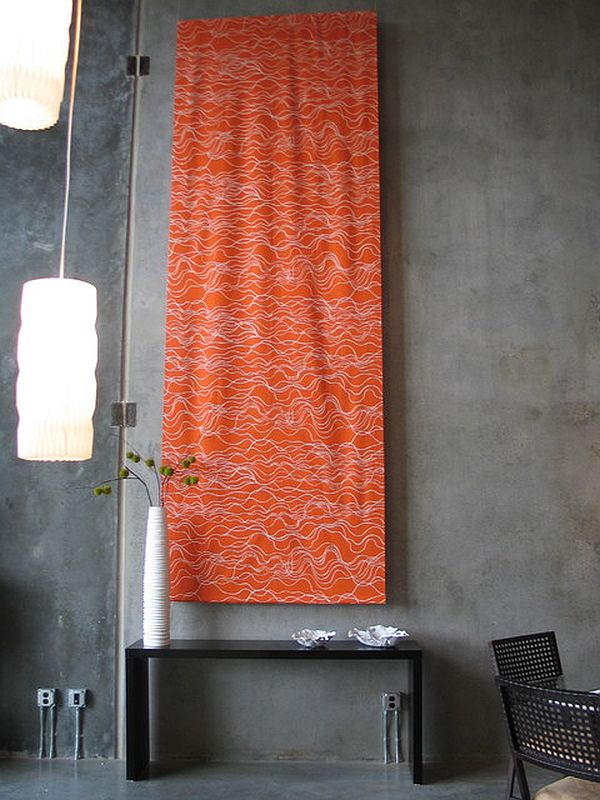 industrial wall with tapestry