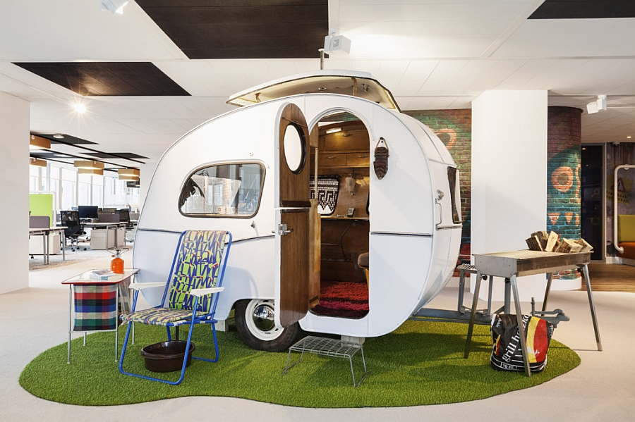 60s Caravan styled hangout and lounge chairs inside Google Amsterdam