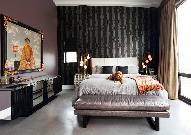 Bedroom blends industrial and oriental styles