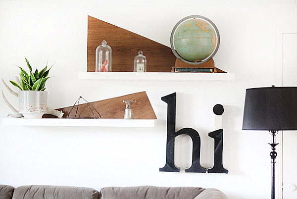 Contact paper shelf accents