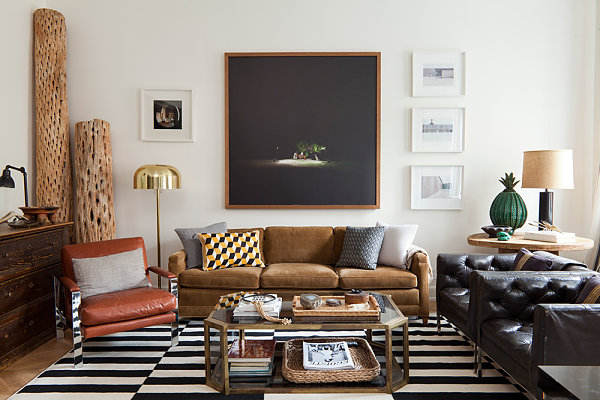 Eclectic living room designed by Nate Berkus