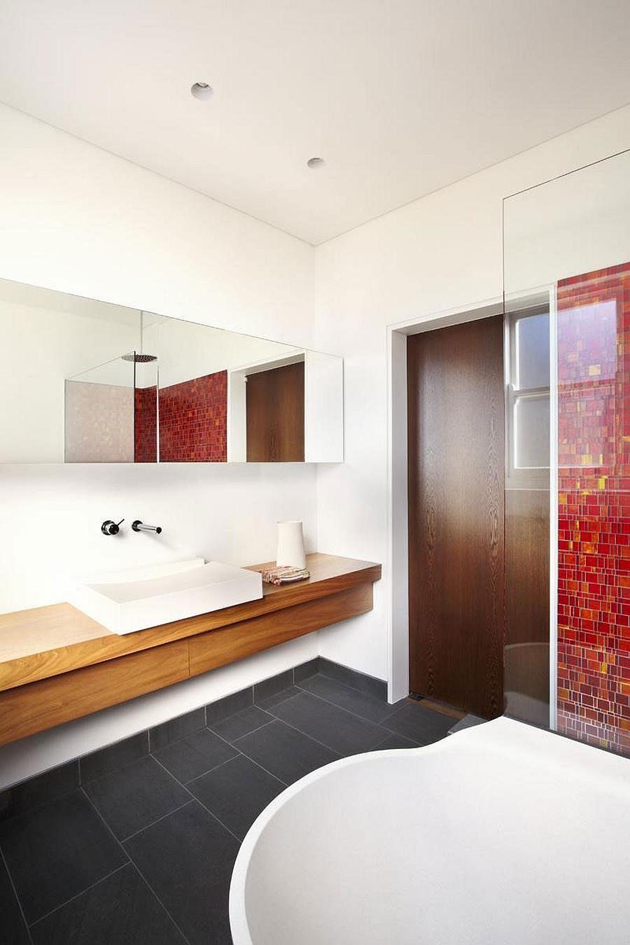 Floating bathroom vanity in wood