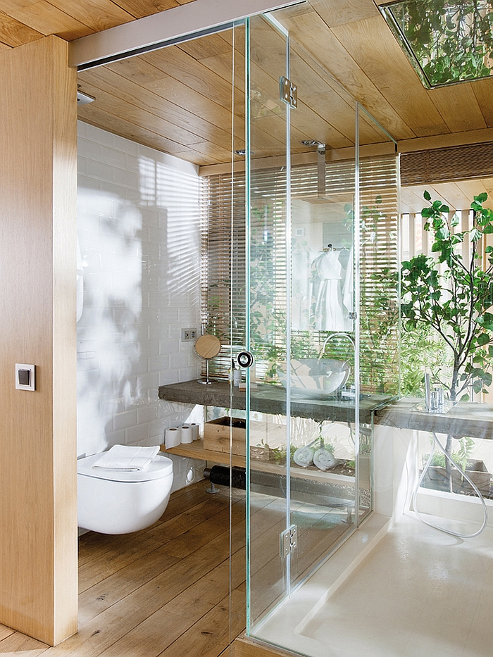 Glass sower enclosure in the bath