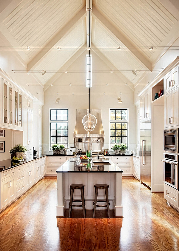 High ceiling gives the kitchen an airy appeal