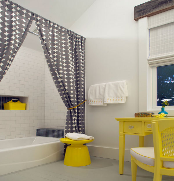 A touch of whimsical yellow in the bathroom