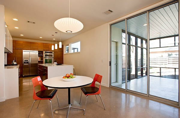 Nelson pendant light above the small dining space