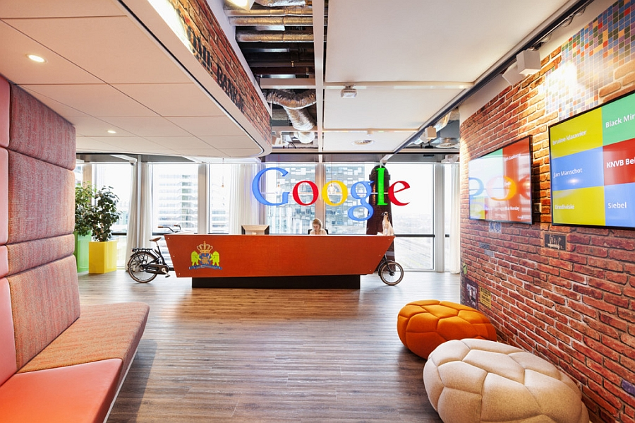 Reception desk with Dutch royal family's coat of arms at Google Amsterdam's Headquarters