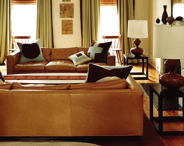 Retro meets modern living room by Jonathan Adler
