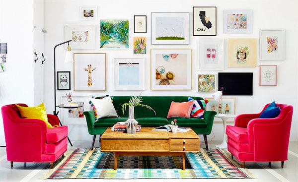 Studio living room designed by Emily Henderson
