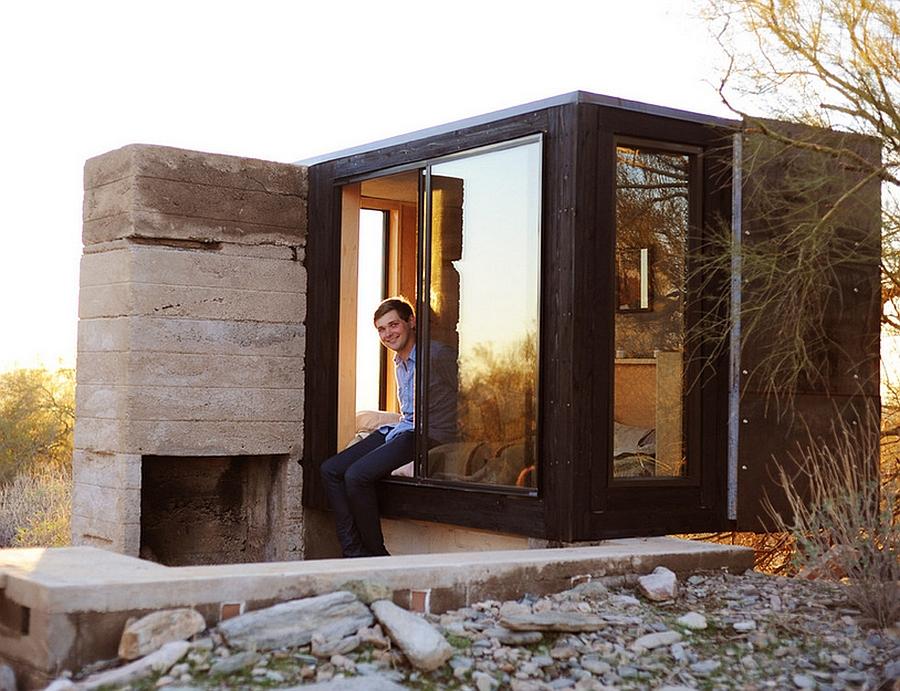 Tiny glass and steel desert shelter