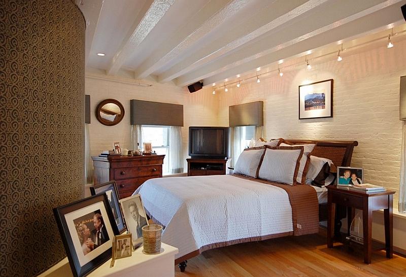 Track lighting in the bedroom