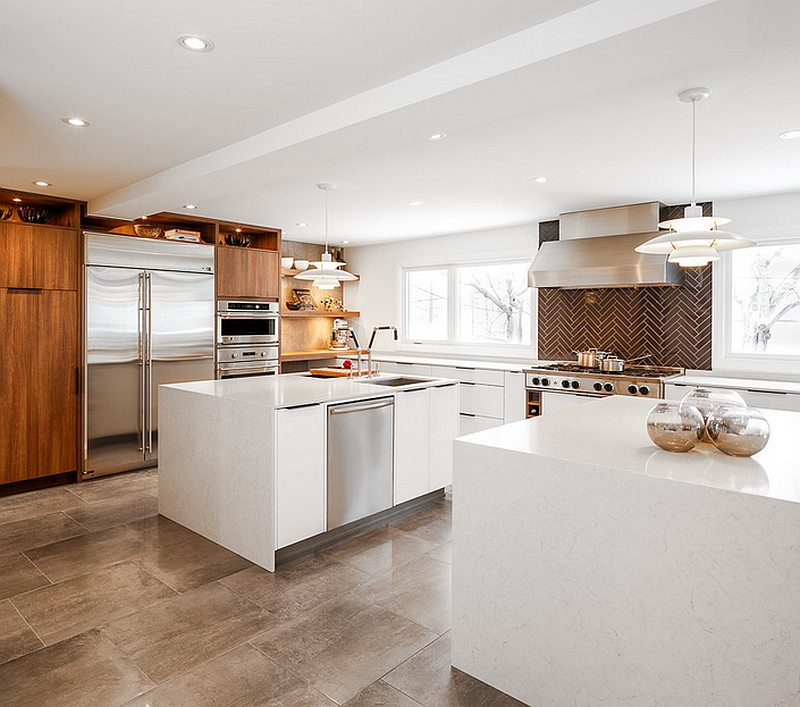 Ultra-modern kitchen with a viusally distinct herringbone backsplash