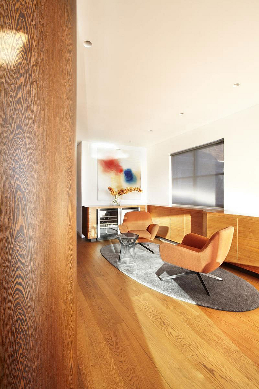 Warm wooden tones for contemporary living room