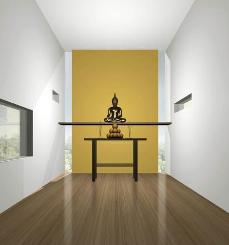 White and gold meditation room with buddha scuplture