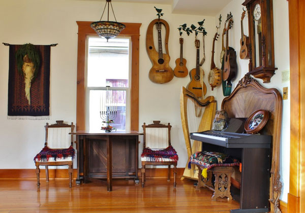 Musical room with beautiful harp