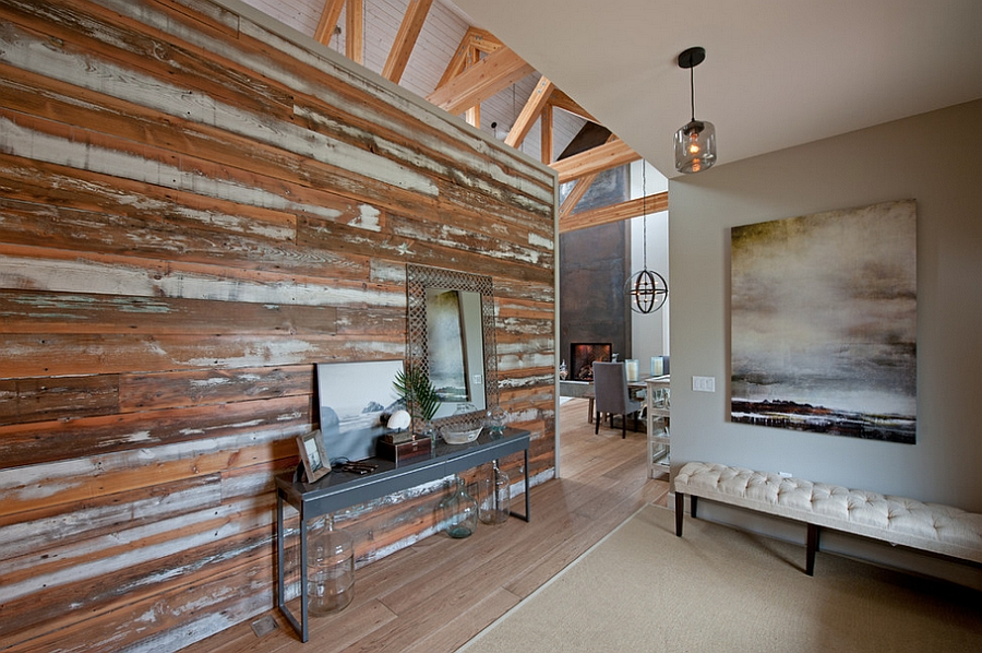 Accent wall with salvaged wood in the living room