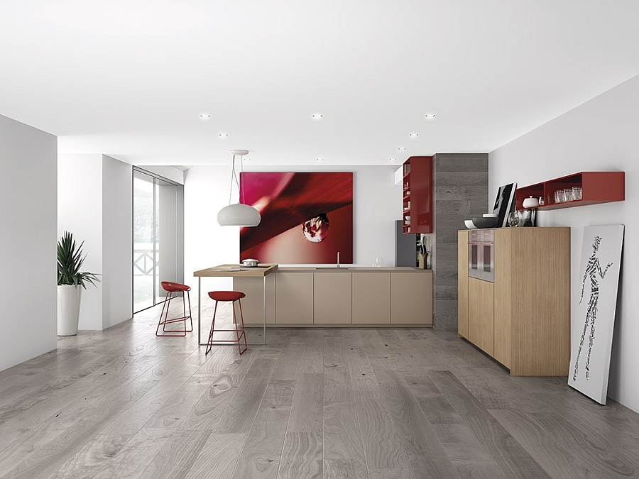 Beautiful wooden kitchen cabinets coupled with open red shelves