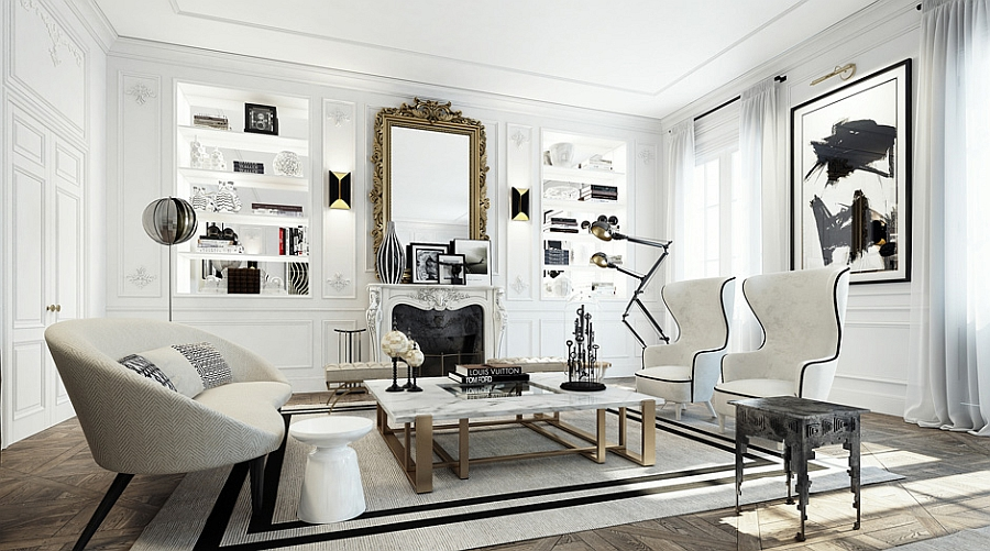 Black and white living space with golden accents