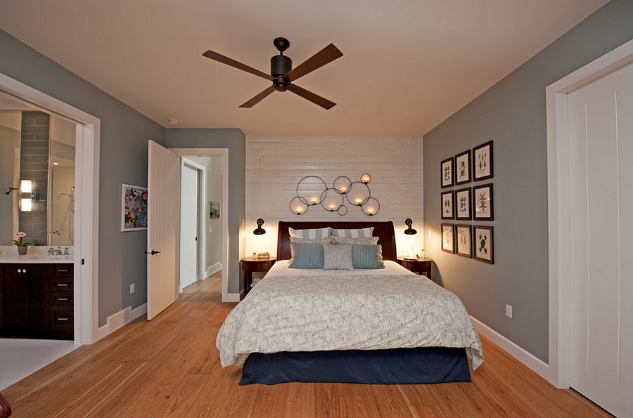Cottage style bedroom in blue-gray and white