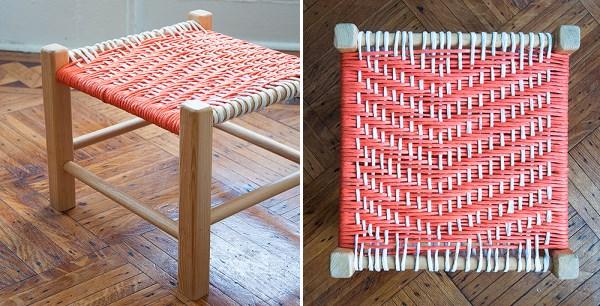 DIY woven footstool