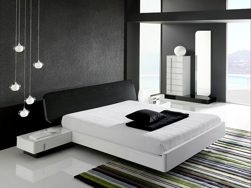 Dramatic minimalist bedroom that makes a bold visual impact