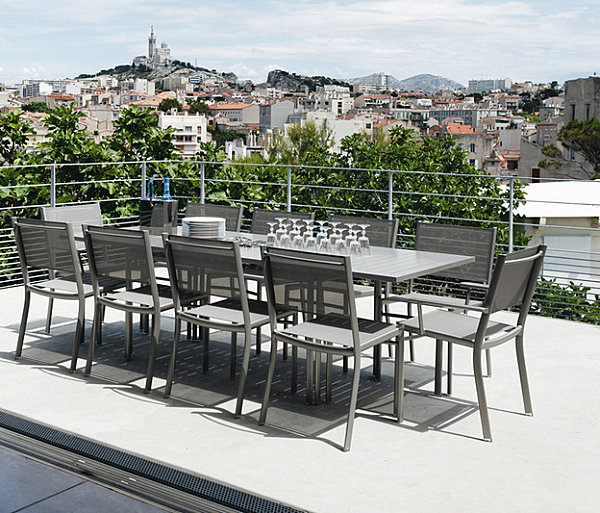 Steel grey long table