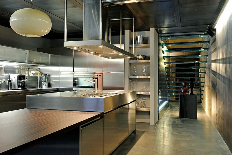 View of the glass stairway from the industrial kitchen