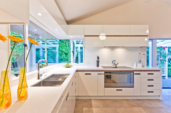 Yellow and green accents in a modern kitchen