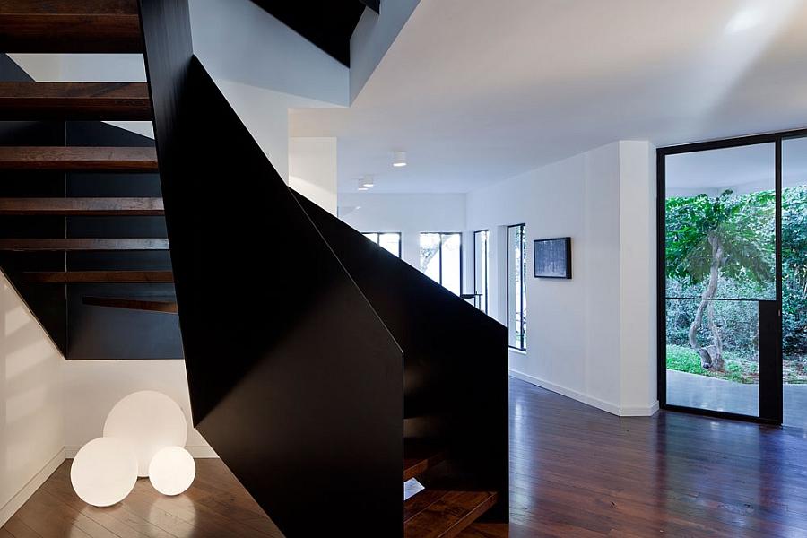 Angular creative staircase inside the house