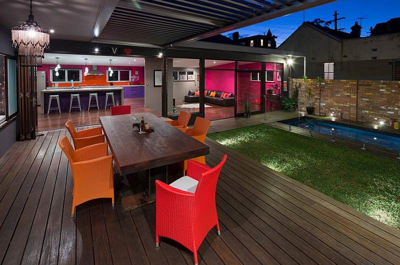 Contemporary deck with colorful decor