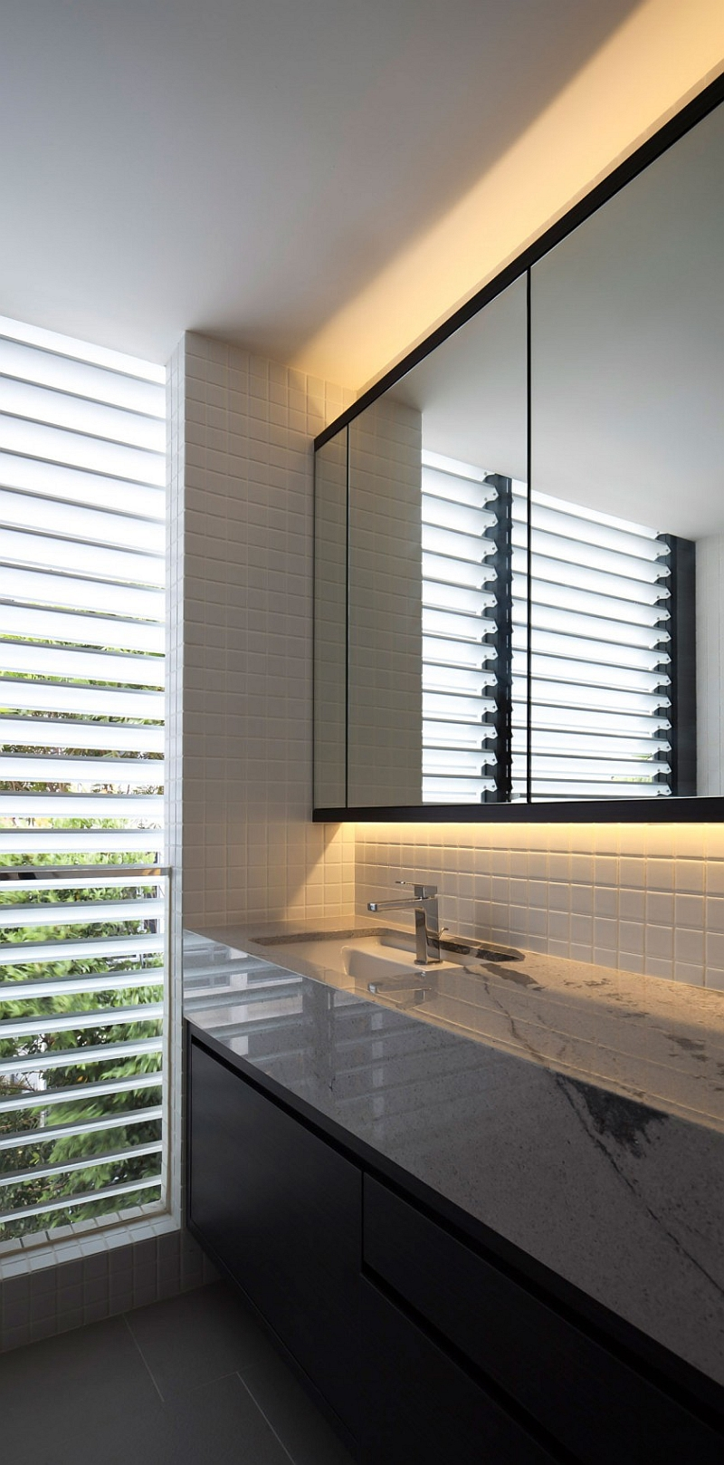 Custom made louvers in the bathroom